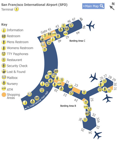 San Francisco Airport (SFO) Terminal 1 Map - Map of Terminal 1 at ...